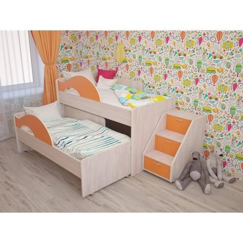 Кровать выкатная Радуга без ящика с лесенкой