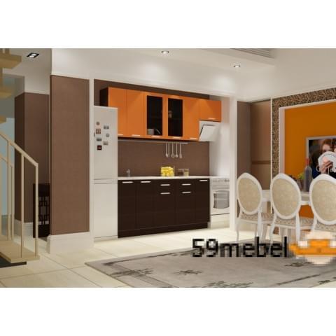 Кухонный гарнитур Виктория-Венге/Оранж