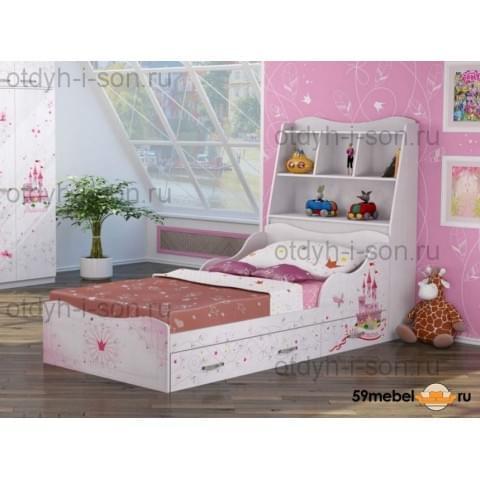 Кровать Принцесса с изголовьем и ящиками