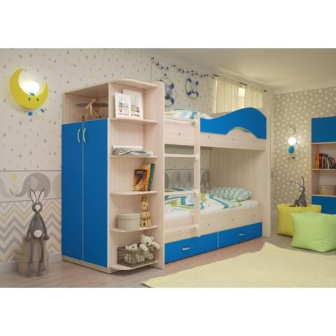 Кровать детская 2-ярусная Мая со шкафом