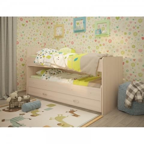 Кровать выкатная Радуга 1.9 на щитах с ящиком