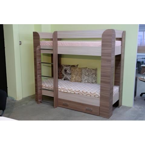 Кровать детская 2-ярусная Мишка с ящиком