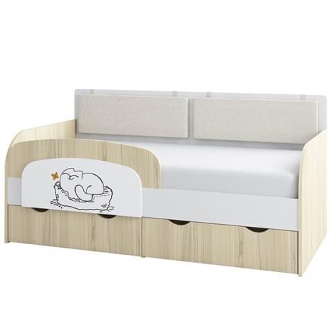 Кровать-тахта Кот 800.4 с бортиком и подушками