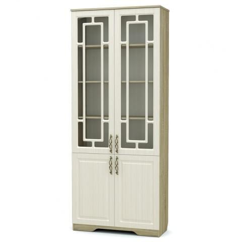 Шкаф Оливия 2-створчатый комбинированный со стеклом