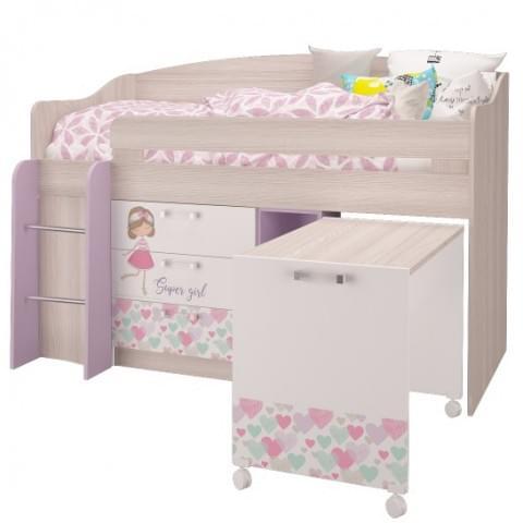 Кровать-чердак малый Адель (УНИ)