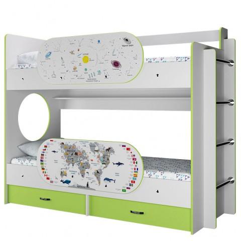Кровать детская 2-ярусная Умка с двумя бортиками