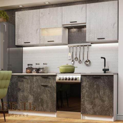 Кухонный гарнитур Лилия 1.7 Фенди/Цемент темный