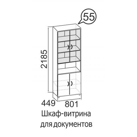 Шкаф-витрина для документов № 55 Офис