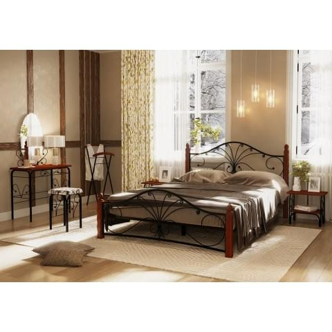 Кровать Фортуна-1 черный/махагон 1.2