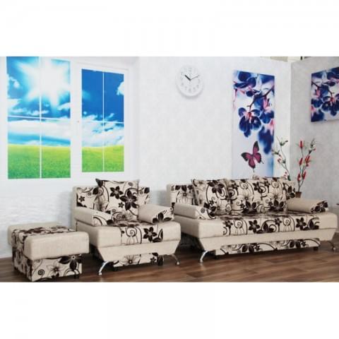 Набор Евро: диван + кресло + пуф Крупный Цветок Бежевый