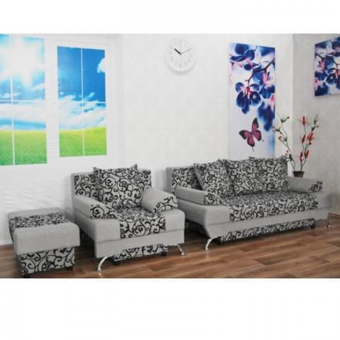 Набор Евро: диван + кресло + пуф Вензель Серый