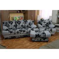 Набор Евро: диван + кресло + пуф Крупный Цветок Серый