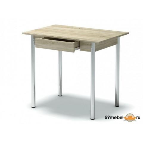 Стол обеденный с ящиком ноги хром