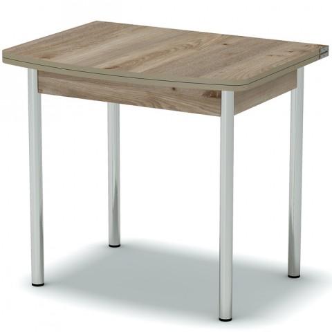 Стол обеденный раскладной закругленный ноги хром
