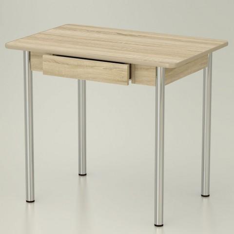 Стол обеденный закругленный с ящиком ноги хром